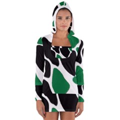 Green Black Digital Pattern Art Women s Long Sleeve Hooded T-shirt