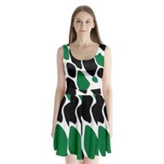 Green Black Digital Pattern Art Split Back Mini Dress