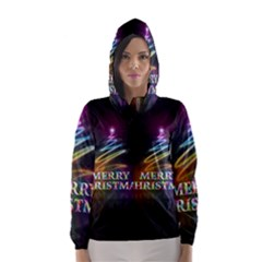 Merry Christmas Abstract Hooded Wind Breaker (women)