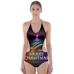 Merry Christmas Abstract Cut-Out One Piece Swimsuit