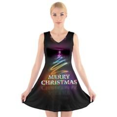 Merry Christmas Abstract V Neck Sleeveless Skater Dress