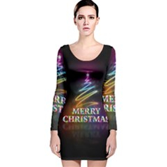 Merry Christmas Abstract Long Sleeve Velvet Bodycon Dress