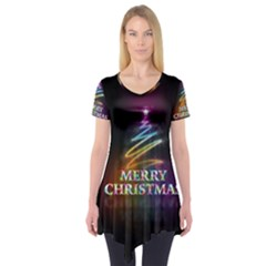 Merry Christmas Abstract Short Sleeve Tunic