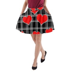 Red hearts pattern A-Line Pocket Skirt
