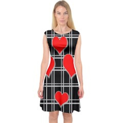 Red hearts pattern Capsleeve Midi Dress