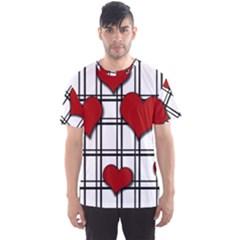Hearts Pattern Men s Sport Mesh Tee