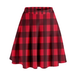 Red And Black Plaid Pattern High Waist Skirt Cowcow