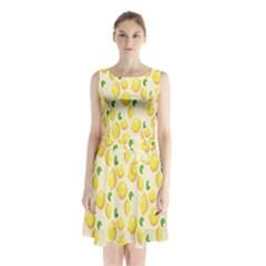 Pattern Template Lemons Yellow Sleeveless Chiffon Waist Tie Dress