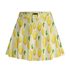 Pattern Template Lemons Yellow Mini Flare Skirt
