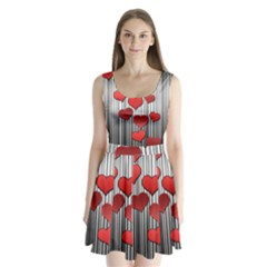 Valentines day pattern Split Back Mini Dress