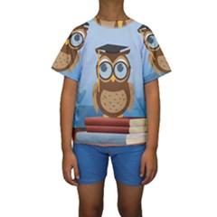 Read Owl Book Owl Glasses Read Kids  Short Sleeve Swimwear