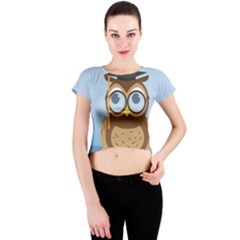 Read Owl Book Owl Glasses Read Crew Neck Crop Top