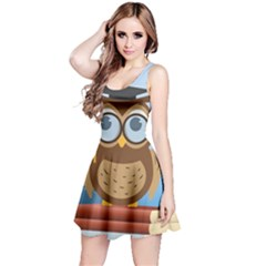 Read Owl Book Owl Glasses Read Reversible Sleeveless Dress