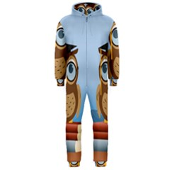 Read Owl Book Owl Glasses Read Hooded Jumpsuit (Men)