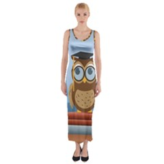 Read Owl Book Owl Glasses Read Fitted Maxi Dress