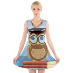 Read Owl Book Owl Glasses Read V Neck Sleeveless Skater Dress