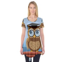 Read Owl Book Owl Glasses Read Short Sleeve Tunic