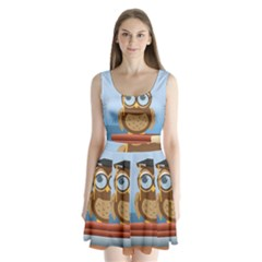 Read Owl Book Owl Glasses Read Split Back Mini Dress
