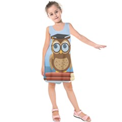 Read Owl Book Owl Glasses Read Kids  Sleeveless Dress