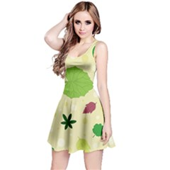Leaves Pattern Reversible Sleeveless Dress