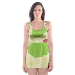 Leaves Pattern Skater Dress Swimsuit