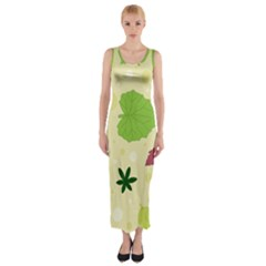 Leaves Pattern Fitted Maxi Dress