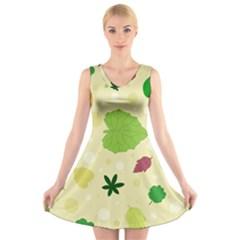 Leaves Pattern V Neck Sleeveless Skater Dress