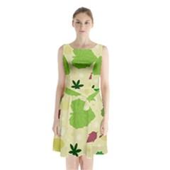 Leaves Pattern Sleeveless Chiffon Waist Tie Dress