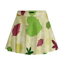 Leaves Pattern Mini Flare Skirt