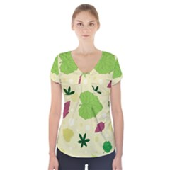 Leaves Pattern Short Sleeve Front Detail Top