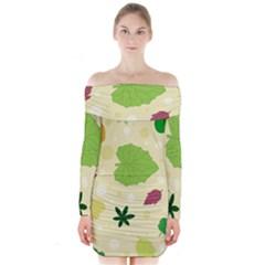 Leaves Pattern Long Sleeve Off Shoulder Dress