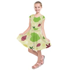Leaves Pattern Kids  Short Sleeve Dress