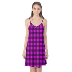 Magenta and black plaid pattern Camis Nightgown