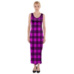 Magenta And Black Plaid Pattern Fitted Maxi Dress