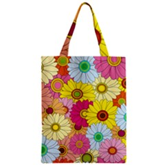 Floral Background Zipper Classic Tote Bag