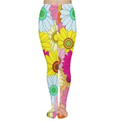 Floral Background Women s Tights