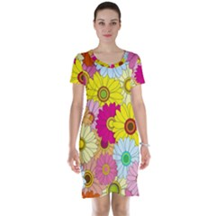Floral Background Short Sleeve Nightdress