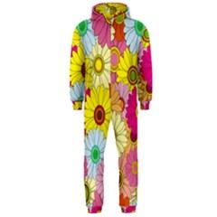 Floral Background Hooded Jumpsuit (Men)