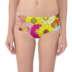 Floral Background Mid Waist Bikini Bottoms