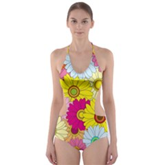 Floral Background Cut-Out One Piece Swimsuit