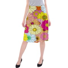 Floral Background Midi Beach Skirt