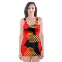 Heart Pattern Skater Dress Swimsuit