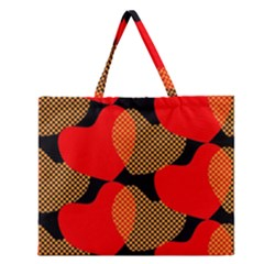 Heart Pattern Zipper Large Tote Bag