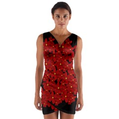 Red bouquet  Wrap Front Bodycon Dress