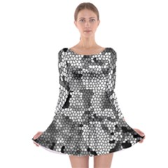 Mosaic Stones Glass Pattern Long Sleeve Skater Dress