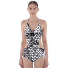 Mosaic Stones Glass Pattern Cut Out One Piece Swimsuit