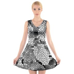 Mosaic Stones Glass Pattern V Neck Sleeveless Skater Dress