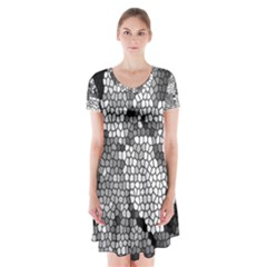 Mosaic Stones Glass Pattern Short Sleeve V-neck Flare Dress