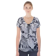 Mosaic Stones Glass Pattern Short Sleeve Front Detail Top