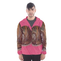 Snail Pink Background Hooded Wind Breaker (Men)